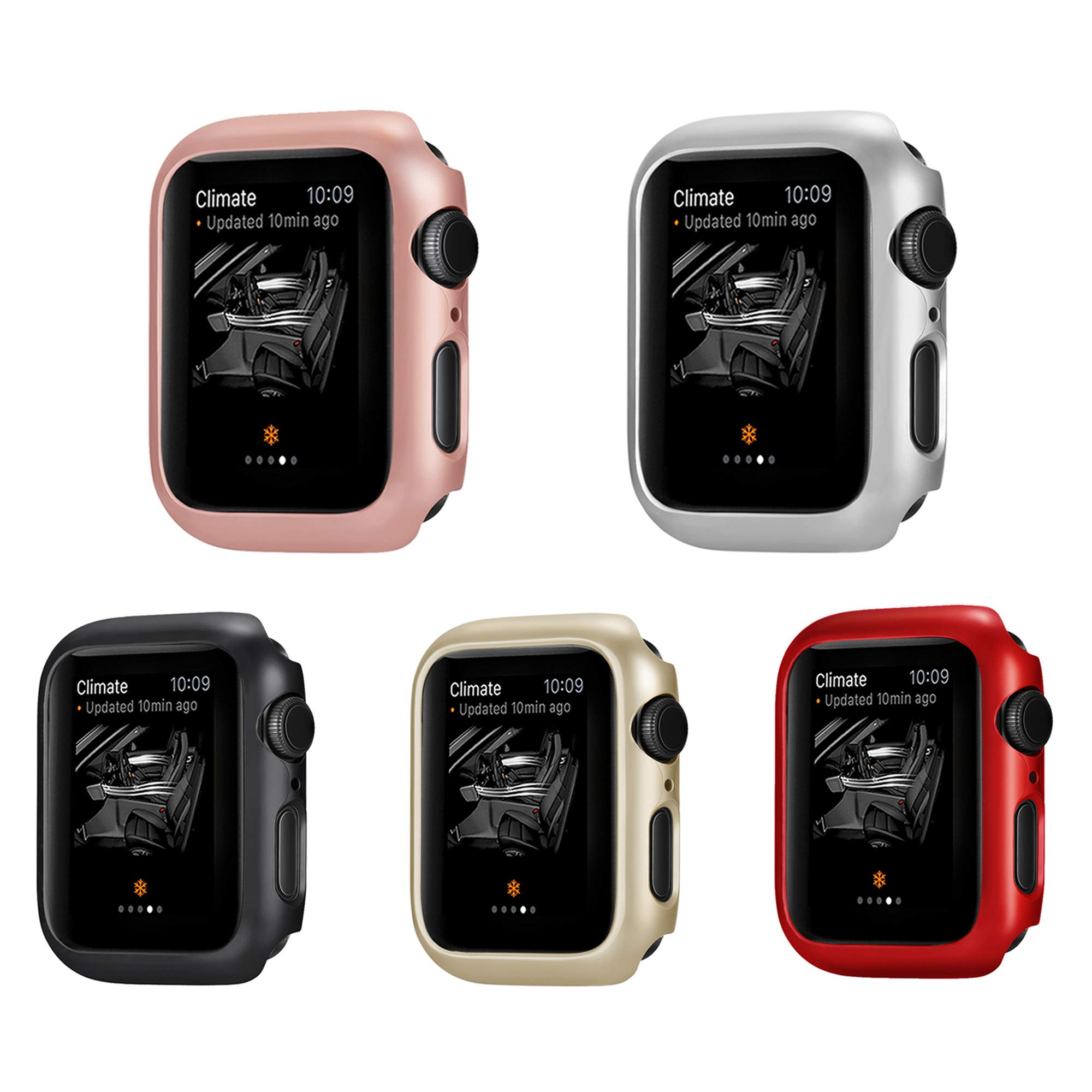 Leotop Compatible with Apple Watch Series 4 Case 44mm 40mm, Super Thin Bumper Protector PC Hard Cover Lightweight Slim Shockproof Accessories Matte Frame Compatible iWatch (5 Color Pack, 40mm)
