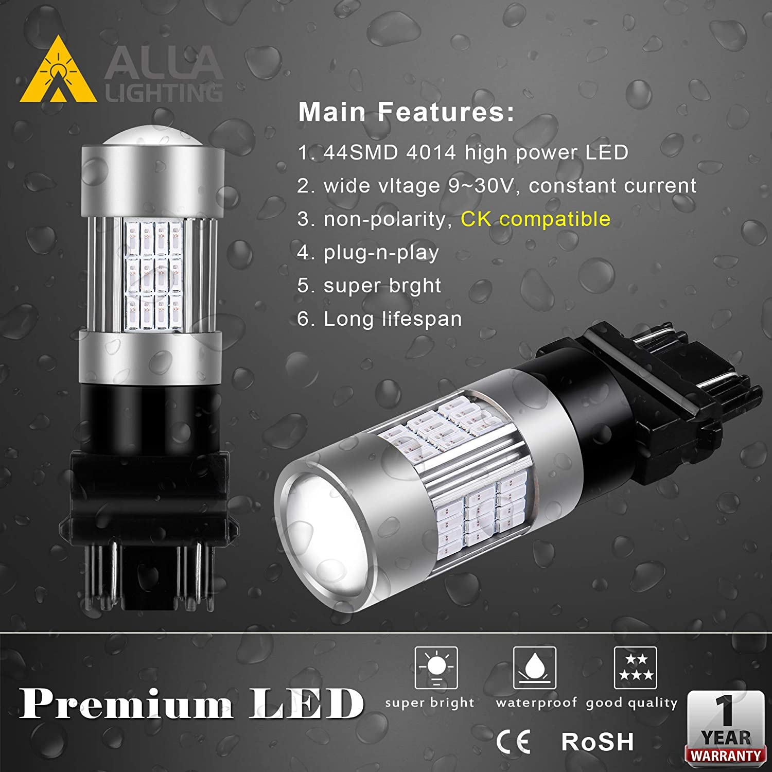 Set of 2 Alla Lighting 7443 LED Bulbs Super Bright T20 Wedge LED 7440 7443 Bulb 54-SMD High Power 4014 Chipsets LED W21W 7443 7440 Amber Yellow Turn Signal Blinker Light Lamp Bulbs Replacement