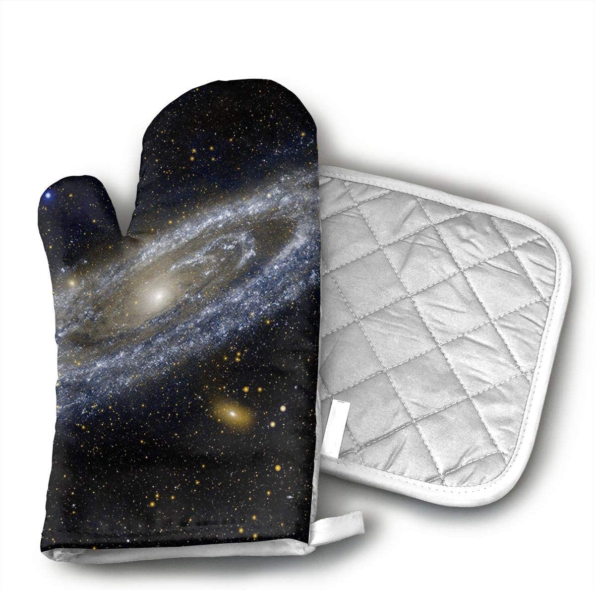 QEDGC NASA Andromeda Galaxy Space Kitchen Oven Mitts Oven Gloves for BBQ Cooking Set Baking Grilling Barbecue Microwave Machine
