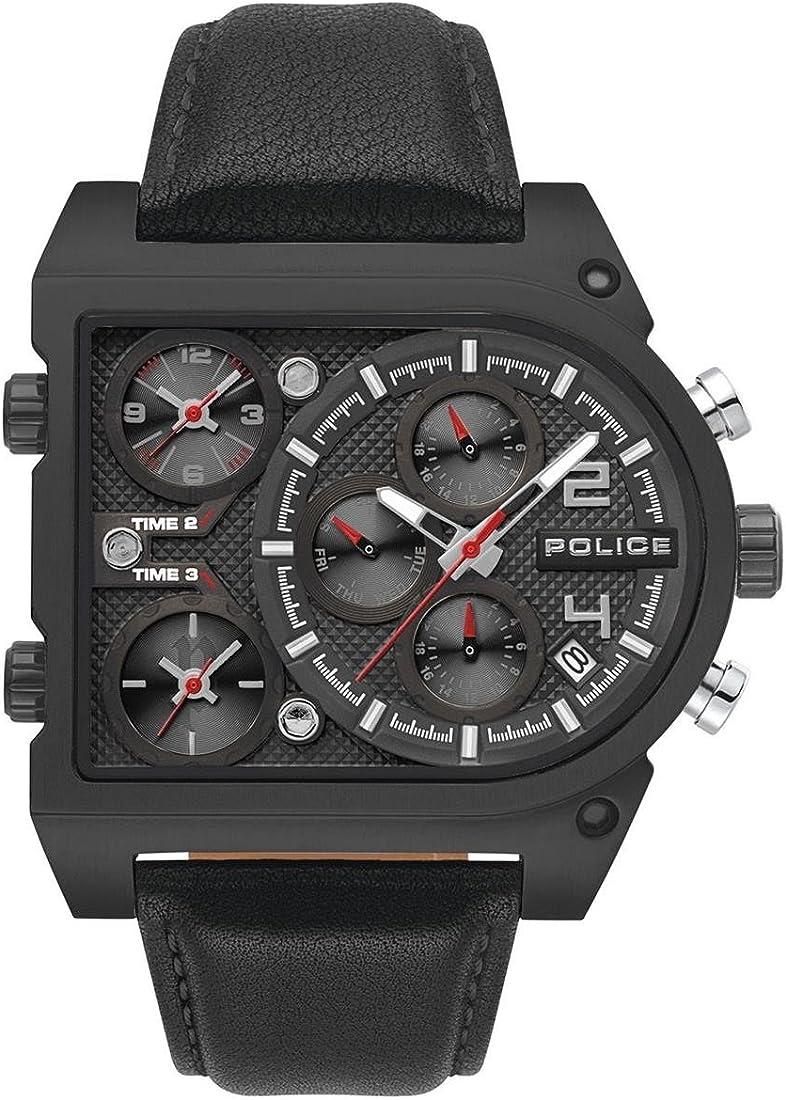 Police orologio multi-quadrante quarzo uomo con cinturino in pelle pl15379jsb.02 military watch