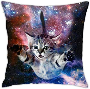 Cute Novelty Funny Galaxy Space Cat Throw Pillow Cover 18