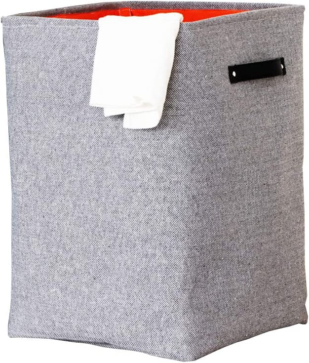 Foldable Laundry Basket with Leather Handle, Built-in Detachable Brackets and Durable Linen