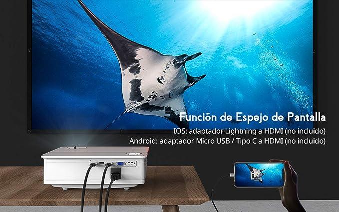 Proyector, COOAU 6800 Lúmenes Proyector Full HD 1920x1080P Nativo Soporta 4K con Altavoces HiFi, Pantalla Gigante de 300