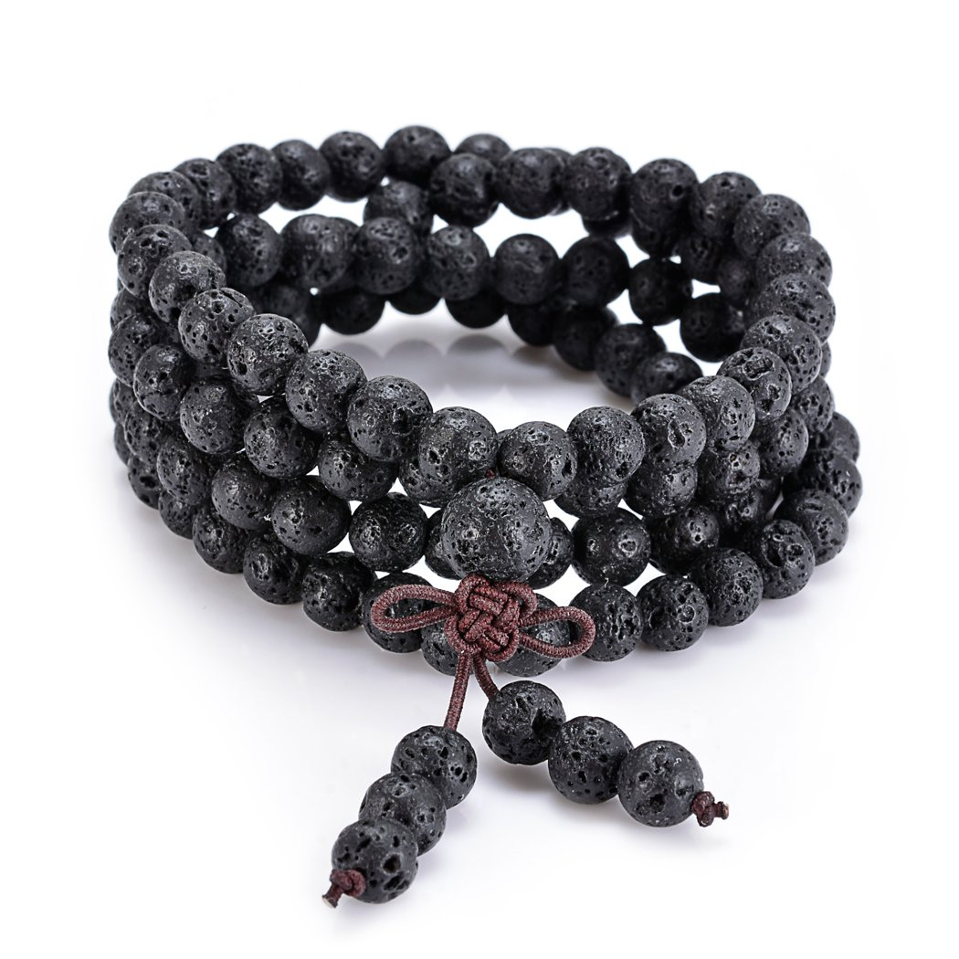 Sromay Natural Lava Stone Meditation 108 Buddhist Prayer Beads Tibetan Mala Bracelet Wrist Necklace
