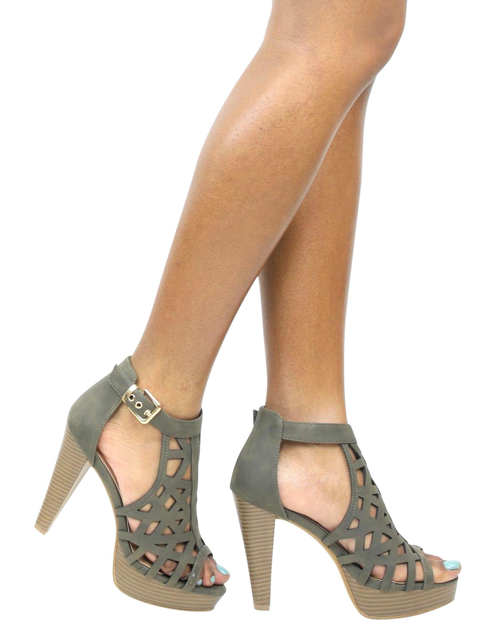 Top Moda Women's BONICA Hi-Platform Heel,Olive,5