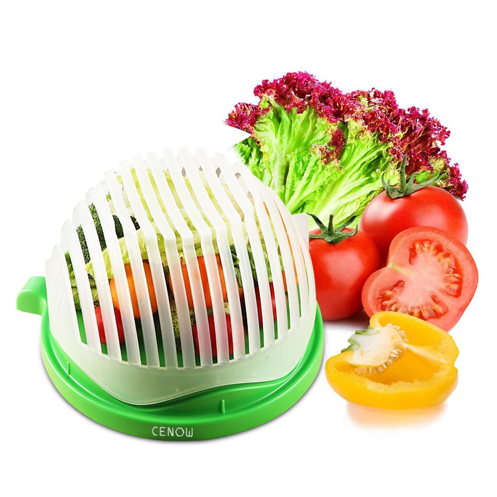 Salad Cutter Bowl Salad Chopper Bowl 60 Seconds Salad Maker Food Grade ABS Convenient for Chopping Vegetable Fruits Use As A Strainer Cutting Board Salad Chopper Sink by Cenow