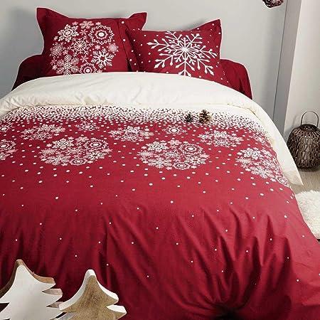 Copripiumino Singolo Rosso.Parure Copripiumino Natalizio Art Flocons Natale Dimensioni