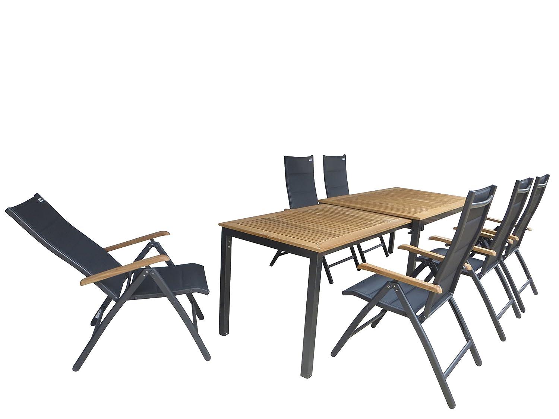 Doppler 7-teilige Luxus Teak Aluminium Textilen Gartenmöbelgruppe Olinda Padded, 6 Klappsessel Detroit Plus Padded + Ausziehtisch Geneva 160/260x90 mit Teak Platte