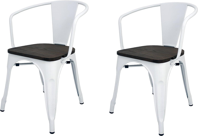 La Silla Española - Pack 2 Sillas estilo Tolix con respaldo, reposabrazos y asiento acabado en madera. Color Blanco. Medidas 73x53,5x52: Amazon.es: Hogar