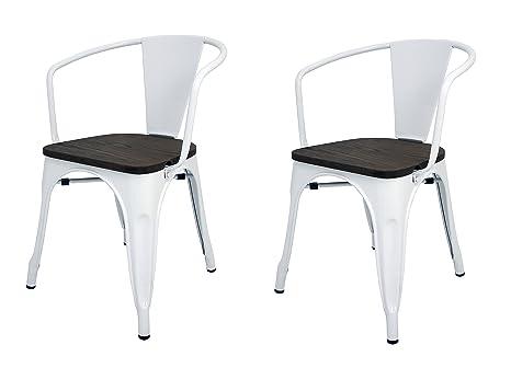 La Silla Española - Pack 2 Sillas estilo Tolix con respaldo, reposabrazos y asiento acabado en madera. Color Blanco. Medidas 73x53,5x52