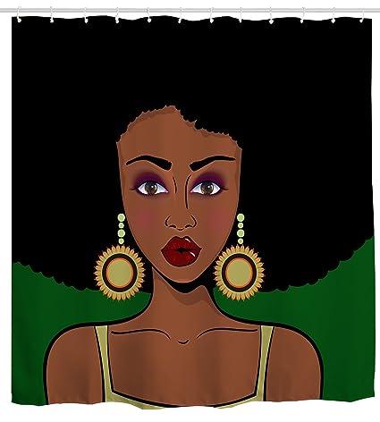 Ihome888 Afro Shower Curtain Afircan American Black Hair Girl Waterproof Bathroom Curtains 72