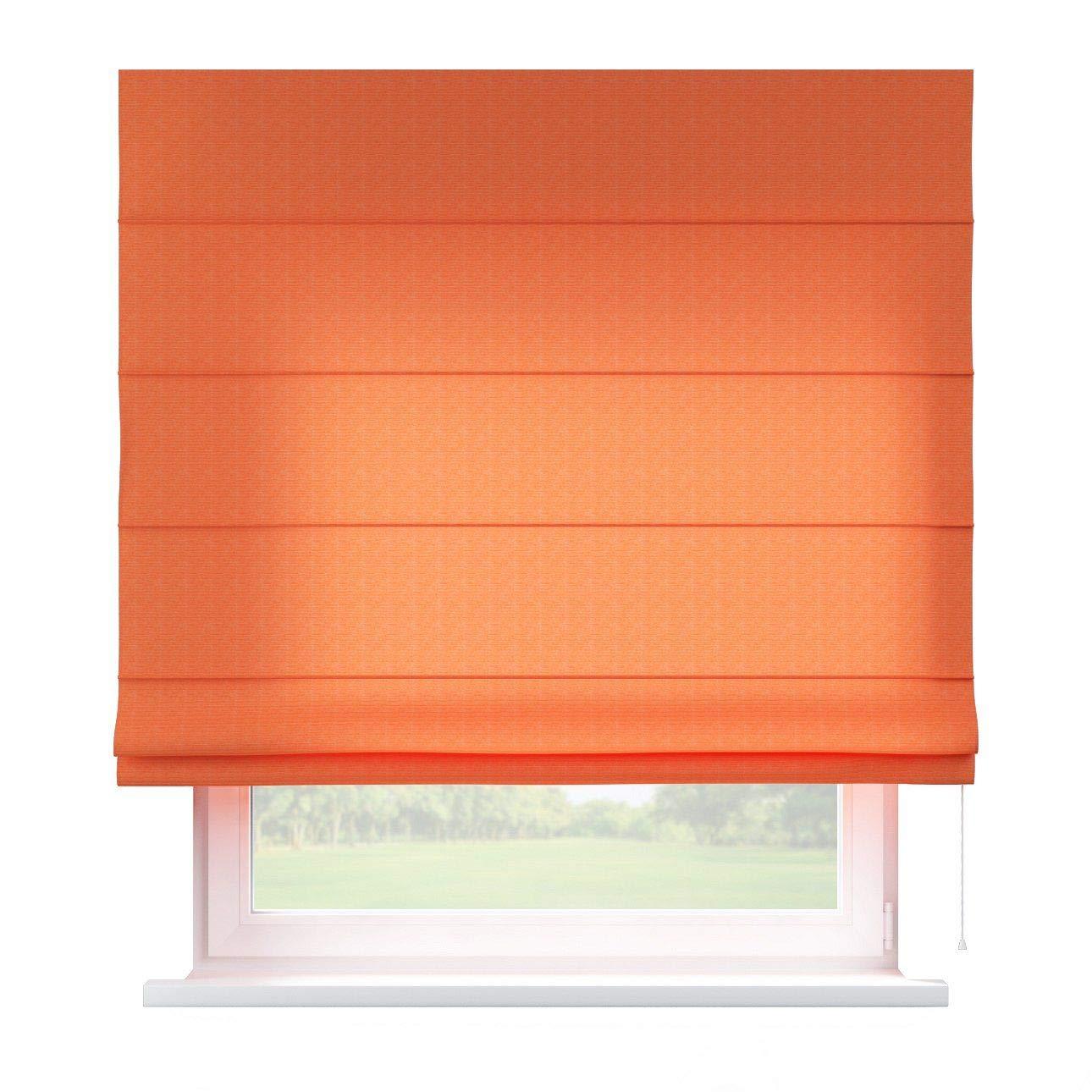 Dekoria Raffrollo Capri ohne Bohren Blickdicht Faltvorhang Raffgardine Wohnzimmer Schlafzimmer Kinderzimmer 130 × 170 cm orange Raffrollos auf Maß maßanfertigung möglich