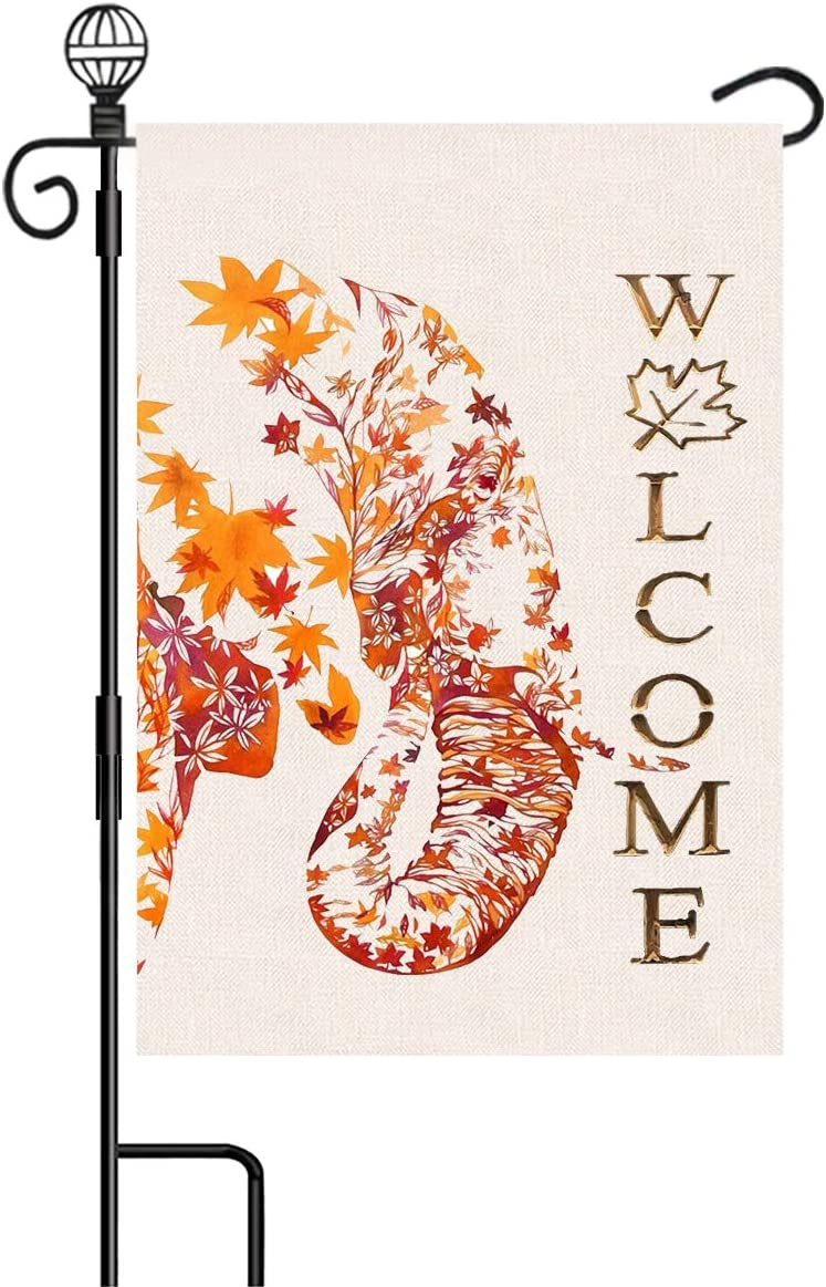 Sundayology Garden Flag Welcome Maple Leaves Elephant Small Vertical Double Sided 12.5 x 18 inch Flags for Home Farmhouse Yard Outdoor Decor