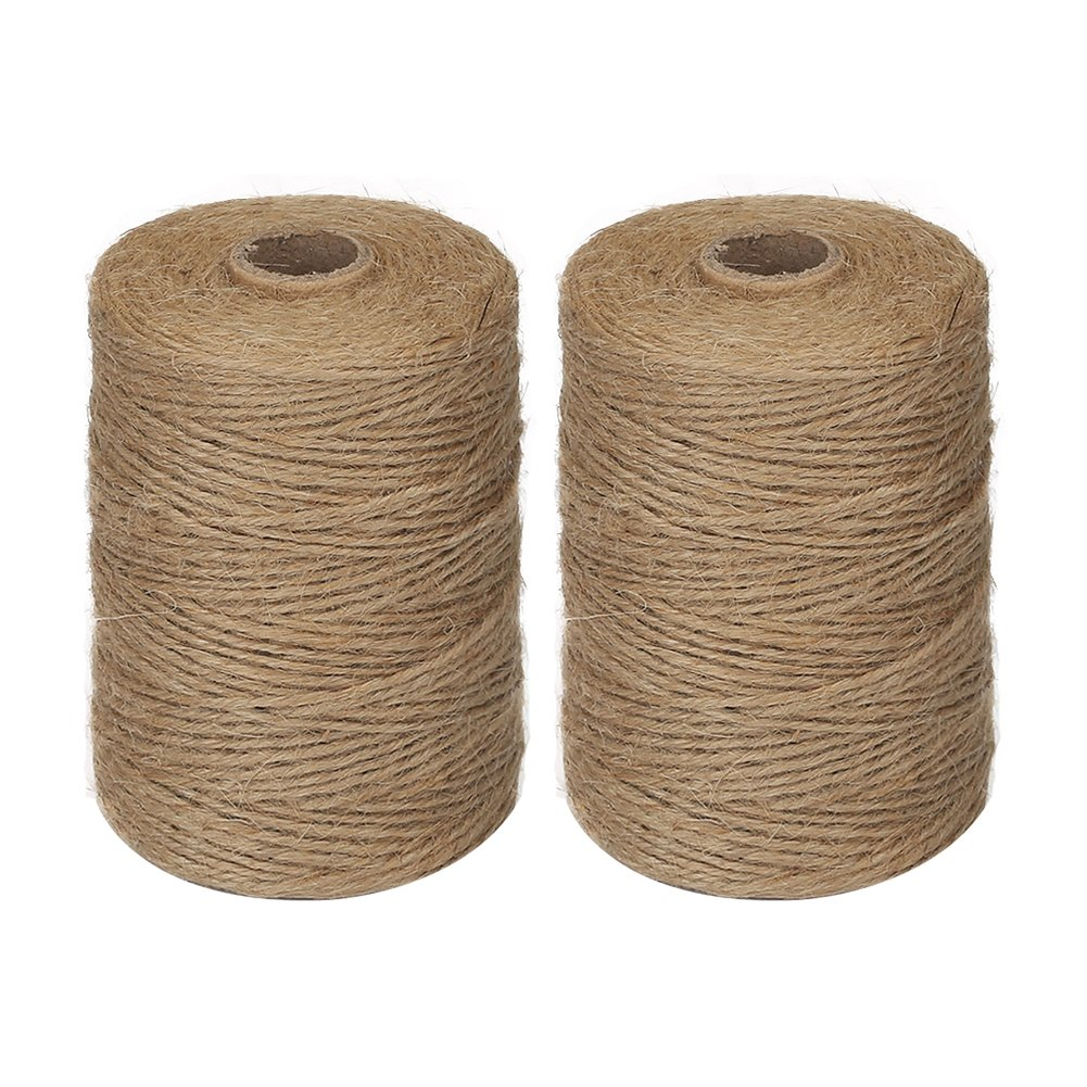 Vivifying 2pcs x 656 Feet 2mm 3Ply Jute Twine, Natural Thick Brown Twine for Garden, Gifts, Crafts