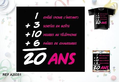 Tee Shirt Humoristique Femme Anniversaire 20 Ans Amazon Fr