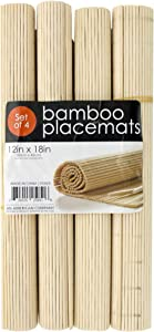 Kole Imports 4-Pc Roll-Up Natural Bamboo Placemats Set