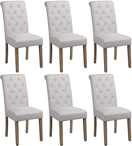 Yaheetech Solid Wood Dining Chairs Button Tufted Parsons Diner Chair Upholstered Fabric Dining Room Chairs Kitchen Chairs Set of 6