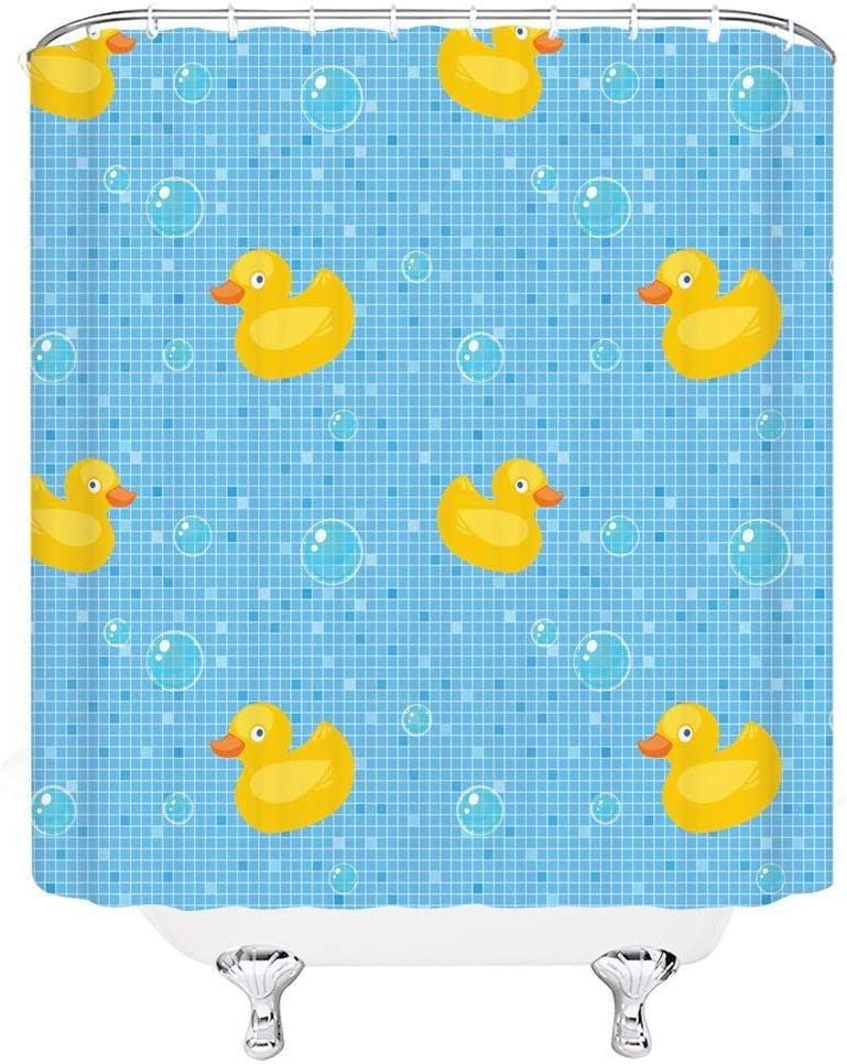 Rubber Duck Shower Curtain Bubbles Hot Pink Print for Bathroom
