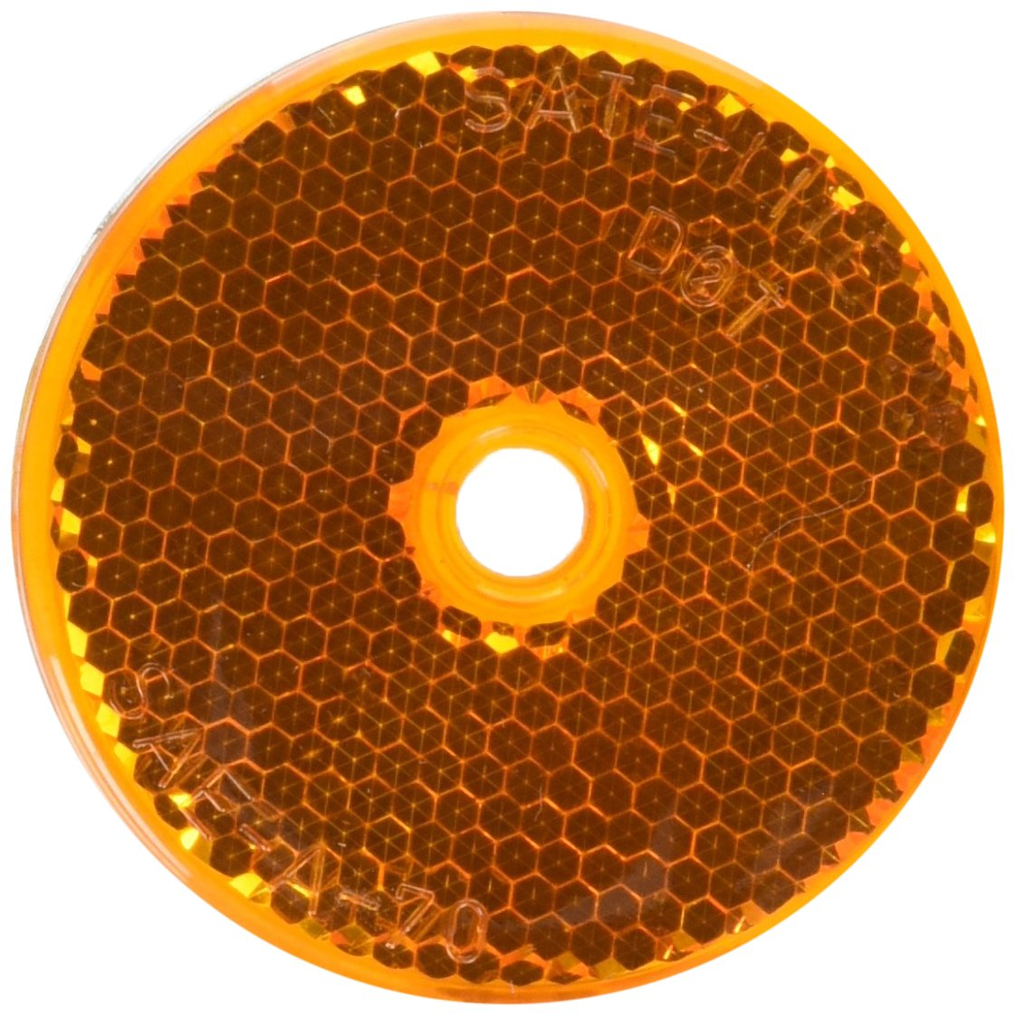 2-3//16 Round Bargman 70-71-175 Reflector with Center Mounting Hole Amber 2-3//16