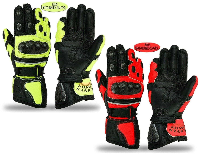 Gants de moto pour enfants !!! 100% cuir de vachette !!! Protection d'articulation pour motocross chez les jeunes 19-01