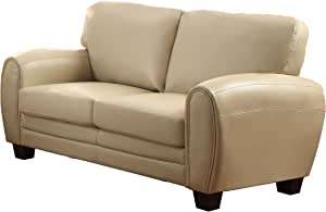 Homelegance Upholstered Loveseat, Taupe Bonded Leather Match