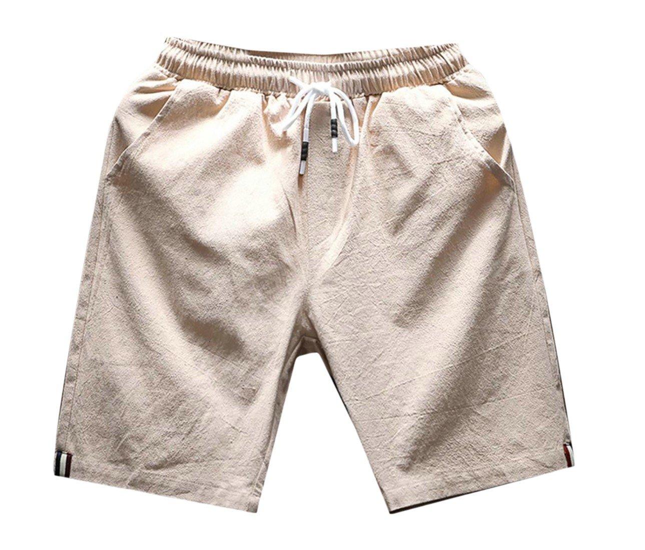 Vska Men's Linen Solid Color Smocked Waist Beach Wear Pleat-Front Short Khaki L