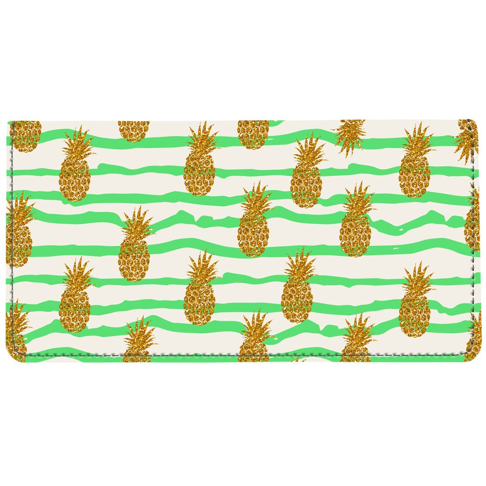 Snaptotes Trendy Green Pineapple Print Summer Be a Pineapple Checkbook Cover