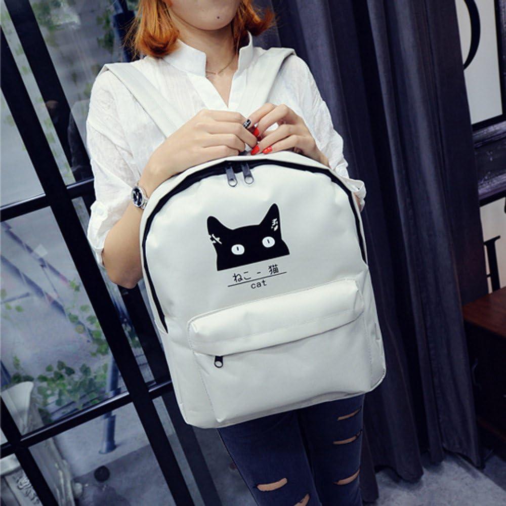 Sunbona Schoolbag Fashion Cat Neutral School Rucksack Bag Gripesack Backpack Handbag Bookbag GrayShoulder School Bag