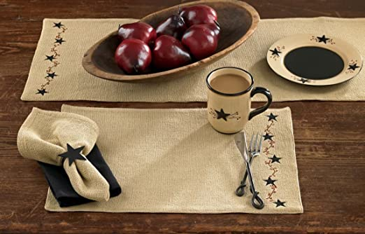 Set of 4 Burlap Star Placemat