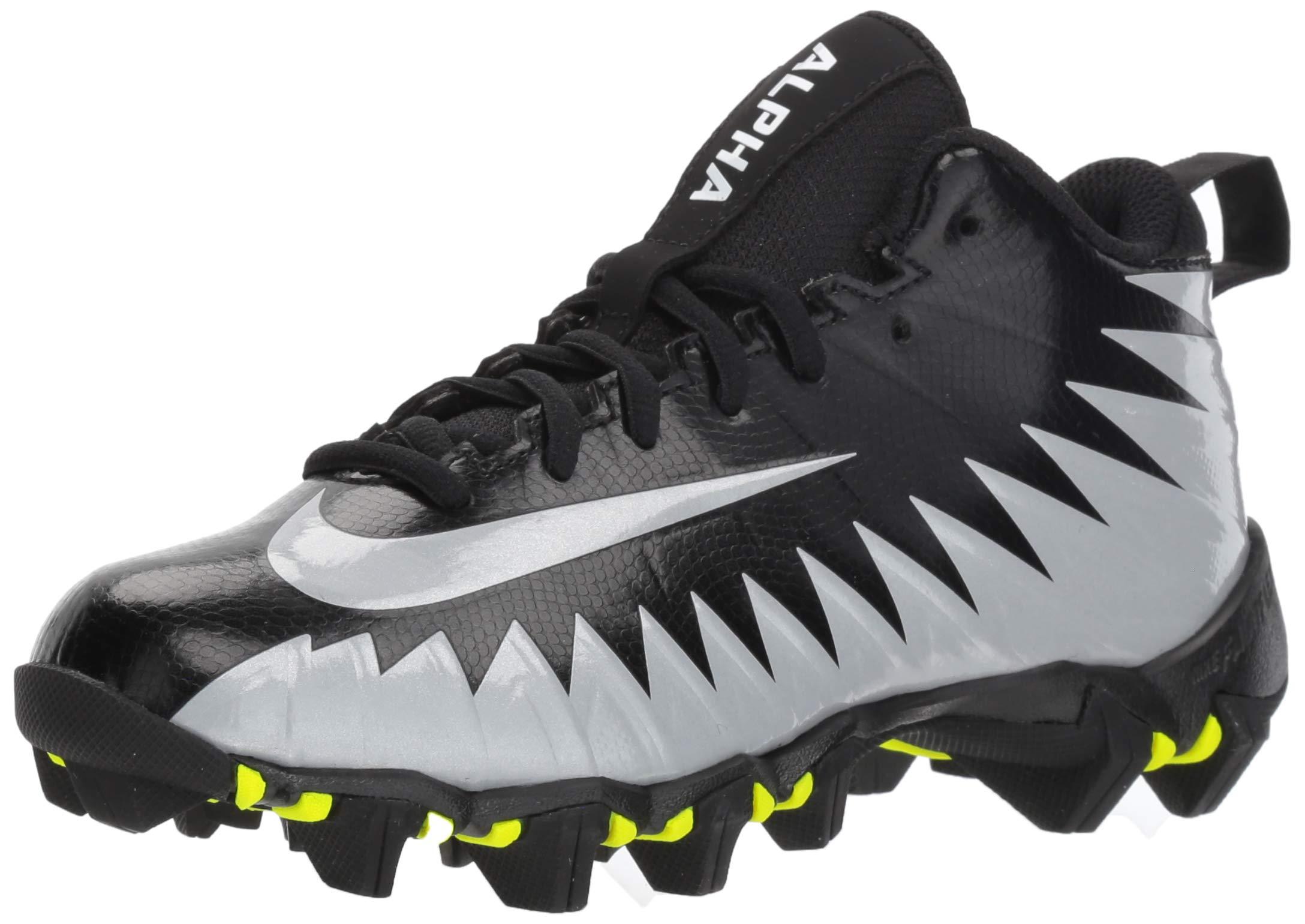 Nike Men's Alpha Menace Shark Football Cleat Black/Metallic Silver/White Size 9 M US by Nike