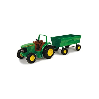TOMY John Deere ERTL Kids Tractor Toy with Flarebox Wagon Set, 8 Inches: Toys & Games