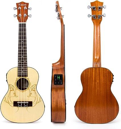 Kmise Ukelele electroacústico hawaiano para guitarra, ukelele de ...
