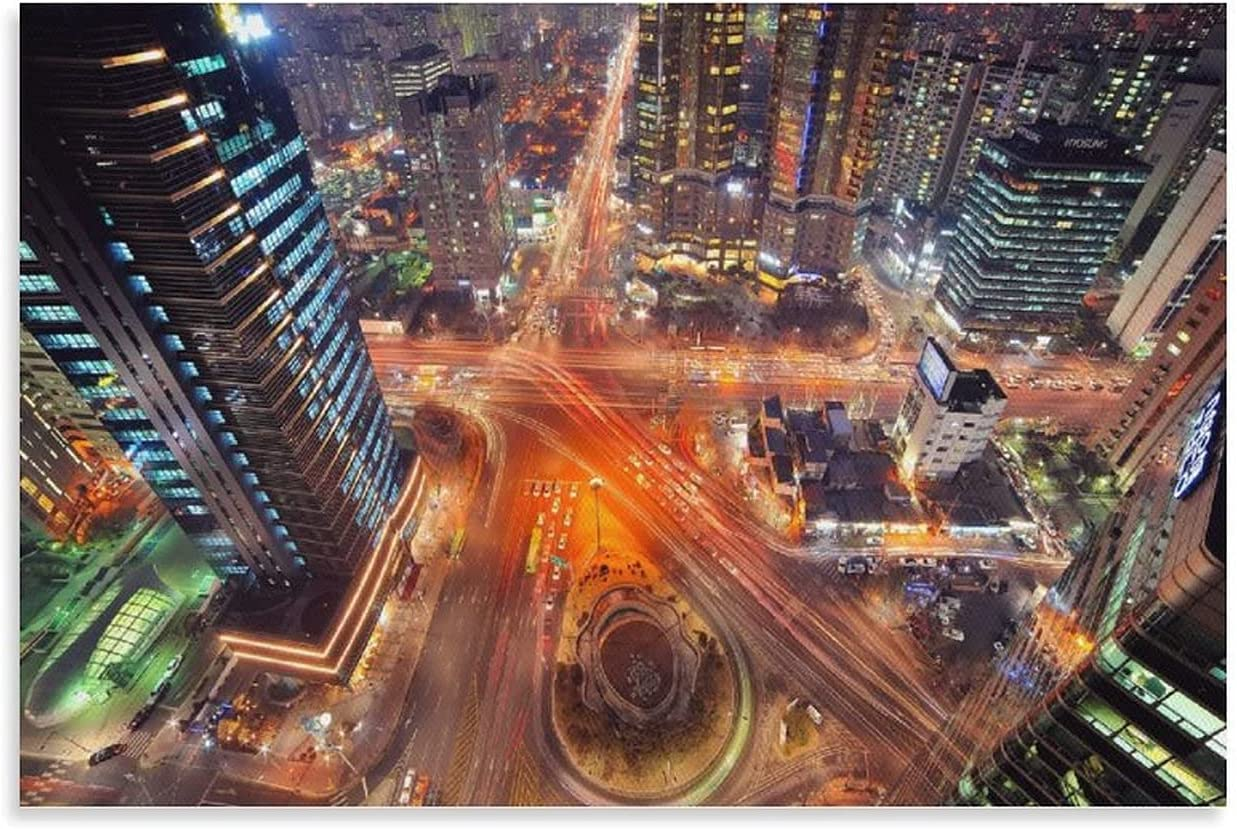 Posters Art Aerial Cityscape of Seoul, South Korea at Night Room Decor Wall Decor Paintings Poster Decorative Painting Canvas Wall Art Living Room Posters Bedroom Painting 20×30inch(50×75cm)