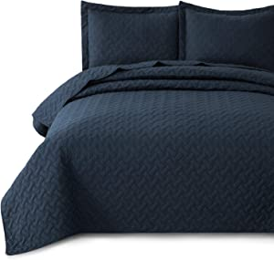 Bedsure Quilt Set Navy Full/Queen Size (90x96 inches) - Basket Weave Pattern Bedspread - Soft Microfiber Lightweight Coverlet for All Season - 3 Pieces (Includes 1 Quilt, 2 Shams)