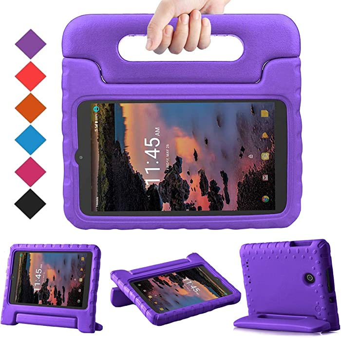 BMOUO Kids Case for Alcatel Joy Tab 8 2019/T-Mobile 3T 8 Tablet 2018/A30 Tablet 8 2017, Lightweight Kid-Proof Handle Stand Case for Alcatel Joy Tab 2019/Alcatel 3T 8 2018 / A30 8 inch 2017 - Purple