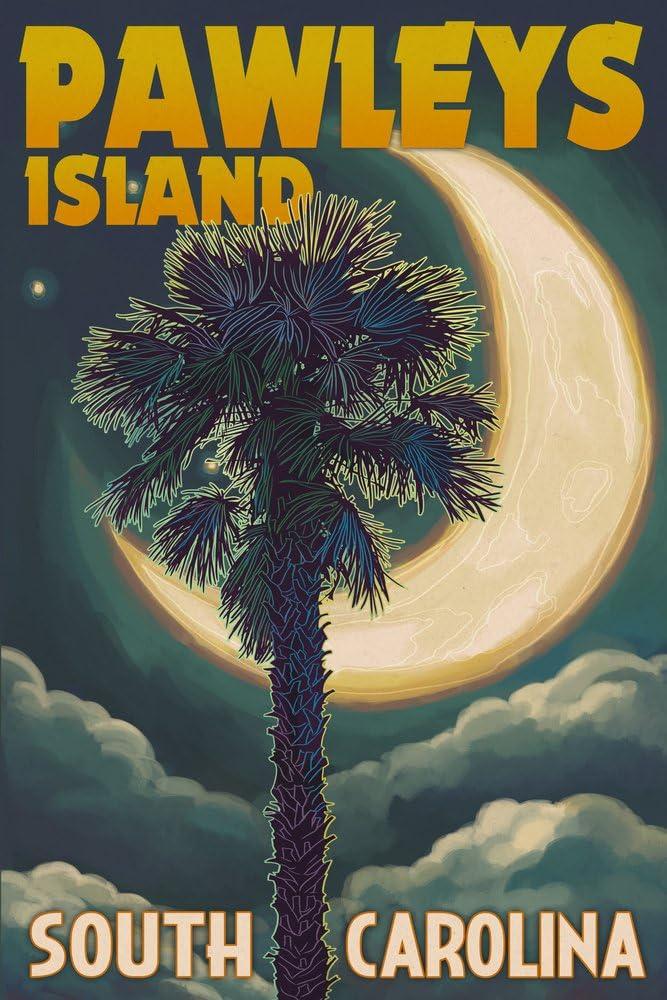Pawleys Island, South Carolina - Palmetto Moon and Palm (12x18 Art Print, Wall Decor Travel Poster)