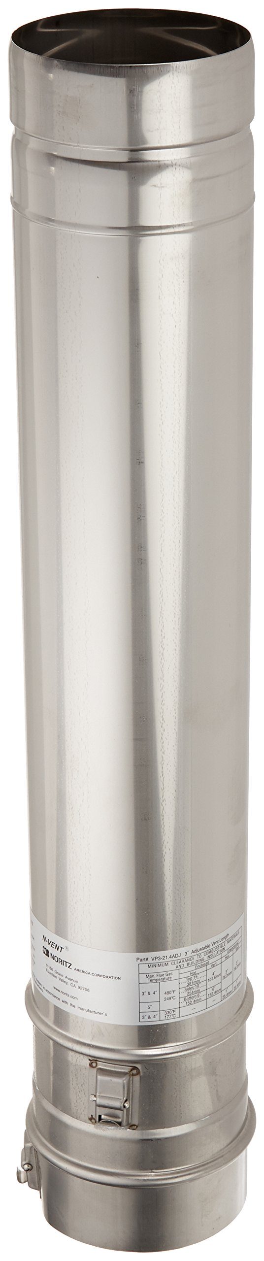 Noritz VP3-21.4ADJUST 3-Inch Diameter by 21.4-Inch Adjustable Straight Stainless Steel Single Wall Venting