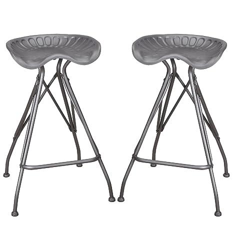 Peachy Joveco Modern Industrial Metal Saddle Seat Design Bar Height Tractor Stool Solid Grey Set Of 2 Creativecarmelina Interior Chair Design Creativecarmelinacom