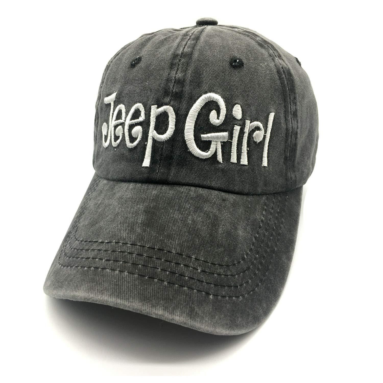 Waldeal Embroidered Jp Girl Vintage Distressed Adjustable Baseball Caps Washed Denim Dad Hat Mom Gift Black by Waldeal (Image #1)