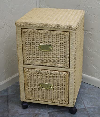 New Indoor Wicker Furniture Two Drawer File Cabinet (Natural)