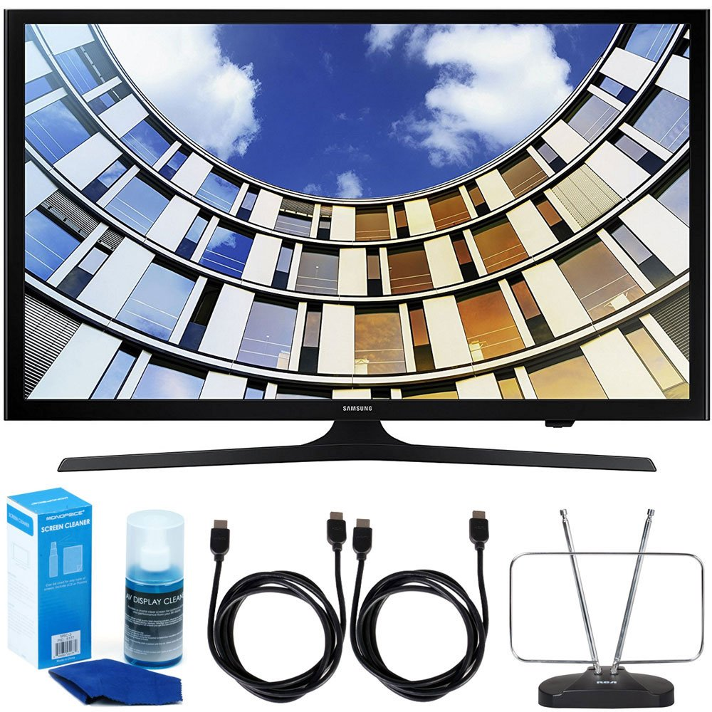 Samsung UN40M5300 Flat 40'' LED 1920x1080p 5 Series Smart TV (2017 Model) Bundle with TV, 6ft High Speed HDMI Cable x 2, HDTV and FM Antenna and Universal Screen Cleaner