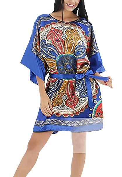 Camisones Mujer De Verano Media Manga Cuello Redondo Vestido Corto Impresión Vintage Ropa Dama Moda Fashionista