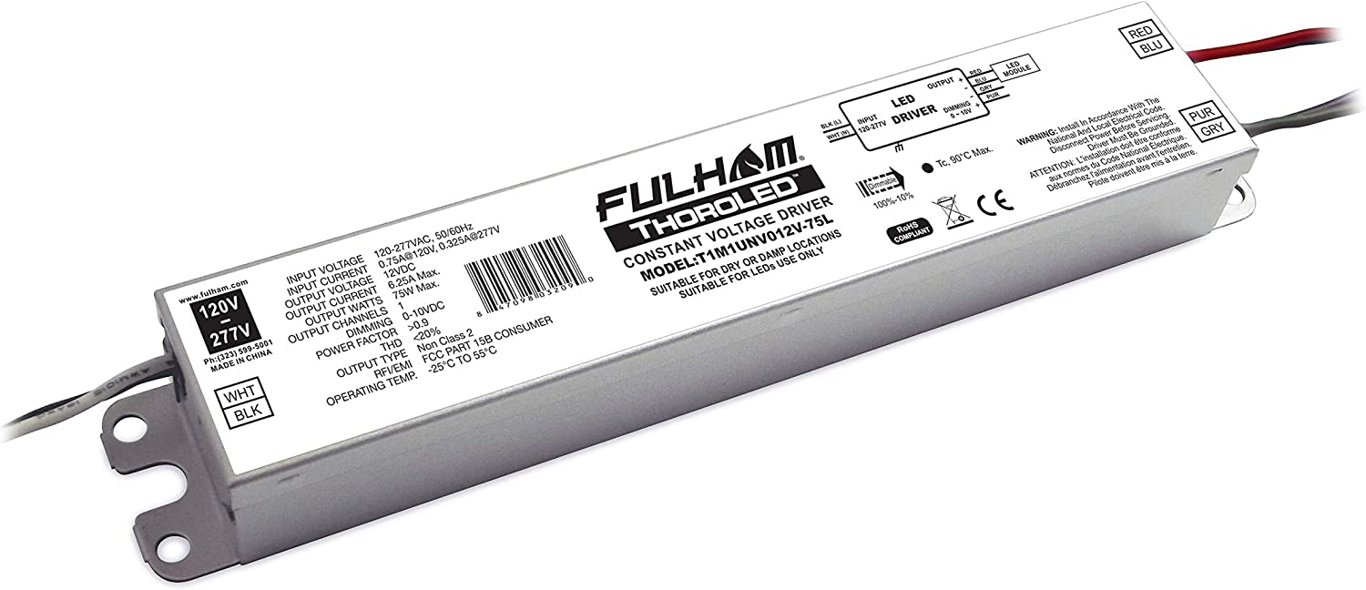 Fulham ThoroLED Constant Voltage Driver 100-277 Vac 50//60Hz Output24VDC 100watts