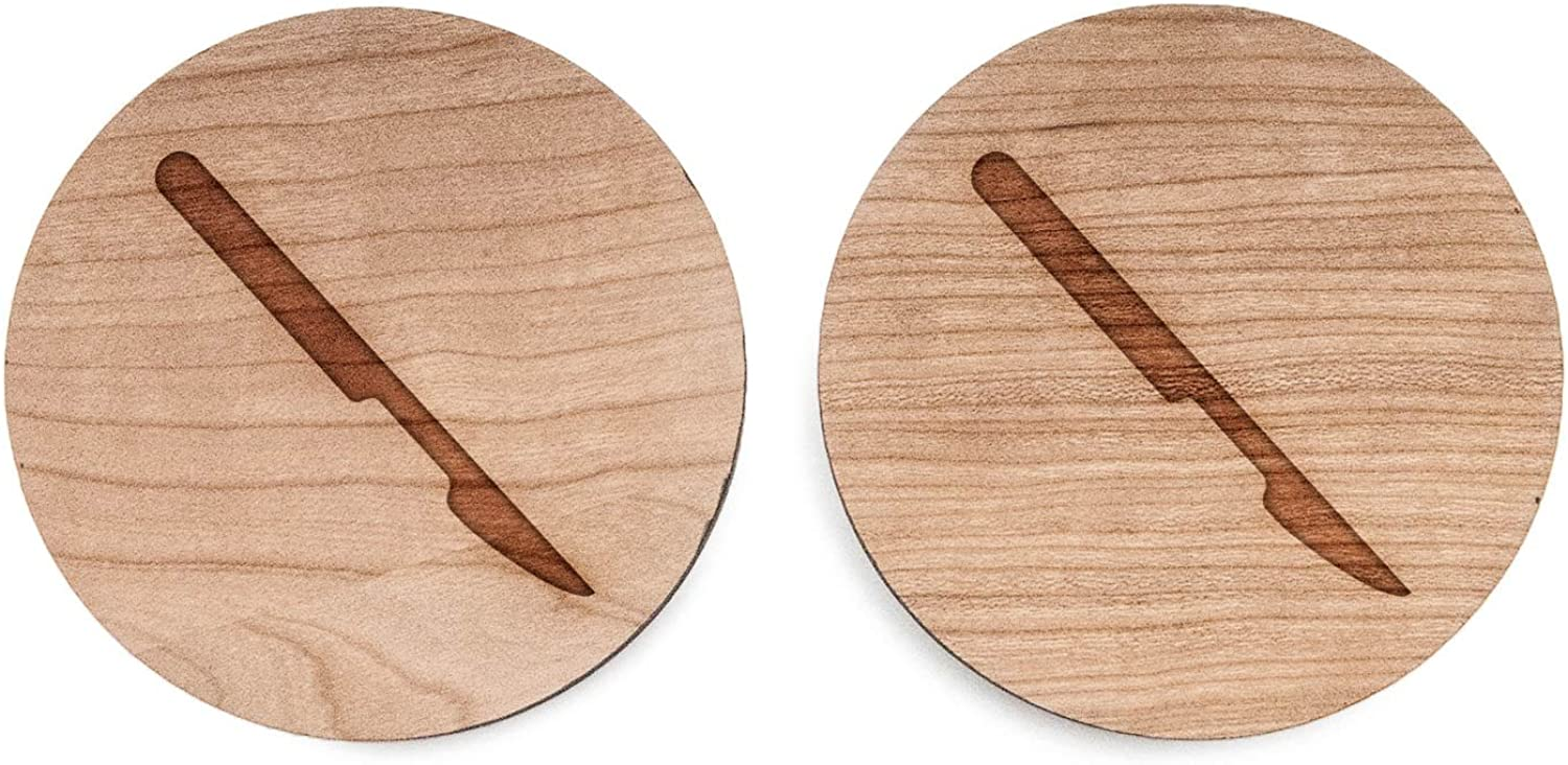 Wooden Accessories Company Wooden Tie Clips with Laser Engraved Scalpel Design Cherry Wood Tie Bar Engraved in The USA