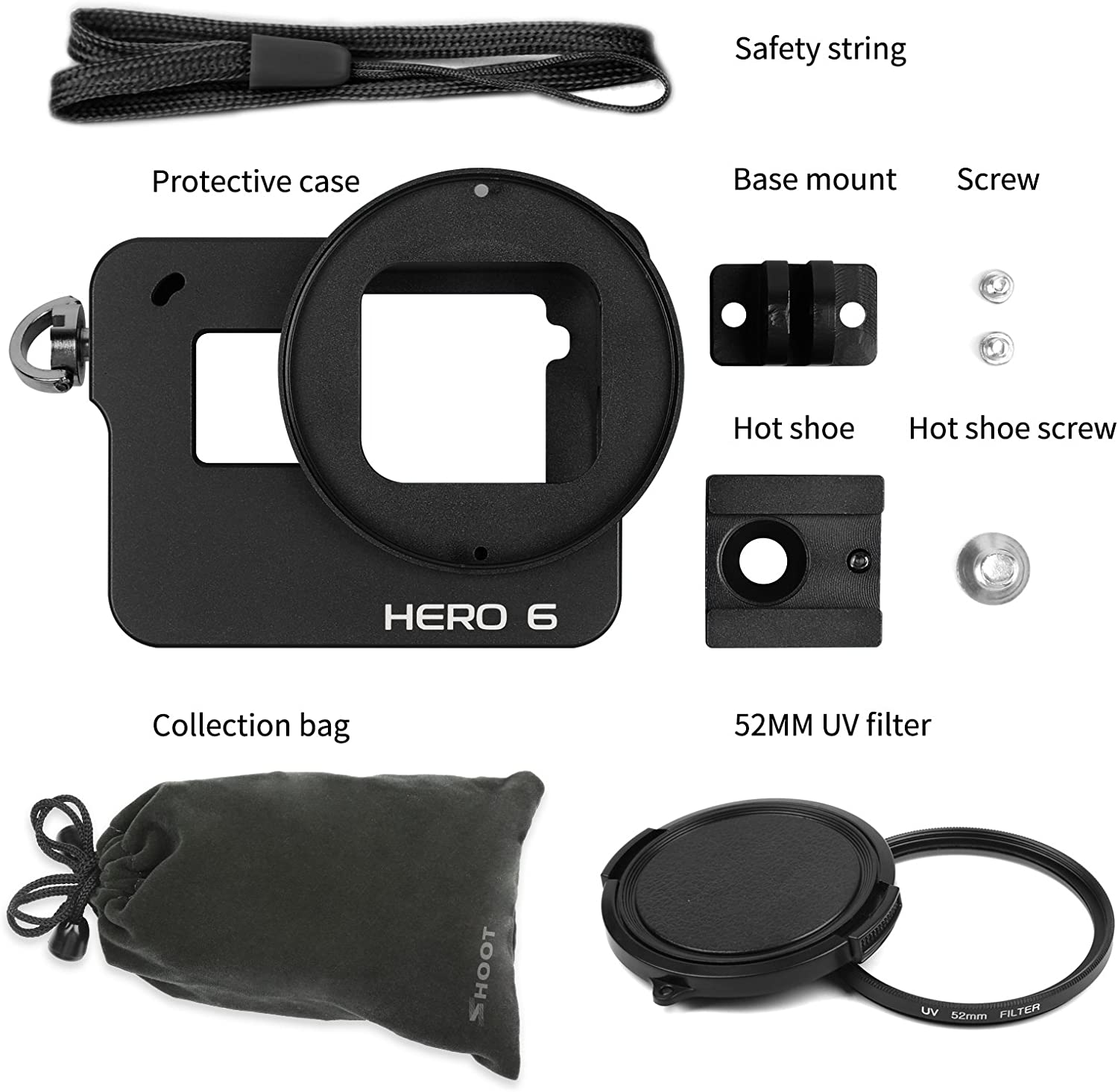 SHOOT Aluminium Alloy Skeleton Protective Housing Metal Case with Back Cover and 52mm UV Filter for GoPro Hero 6 Action Camera