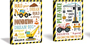 Framed Cartoon Construction Vehicles Art Print Inspirational Quote Wall Art Painting,Set of 2 Pieces (11.8x15.6inch) Motivational Saying Poster For Kids Room Nursery Decor-Ready to Hang