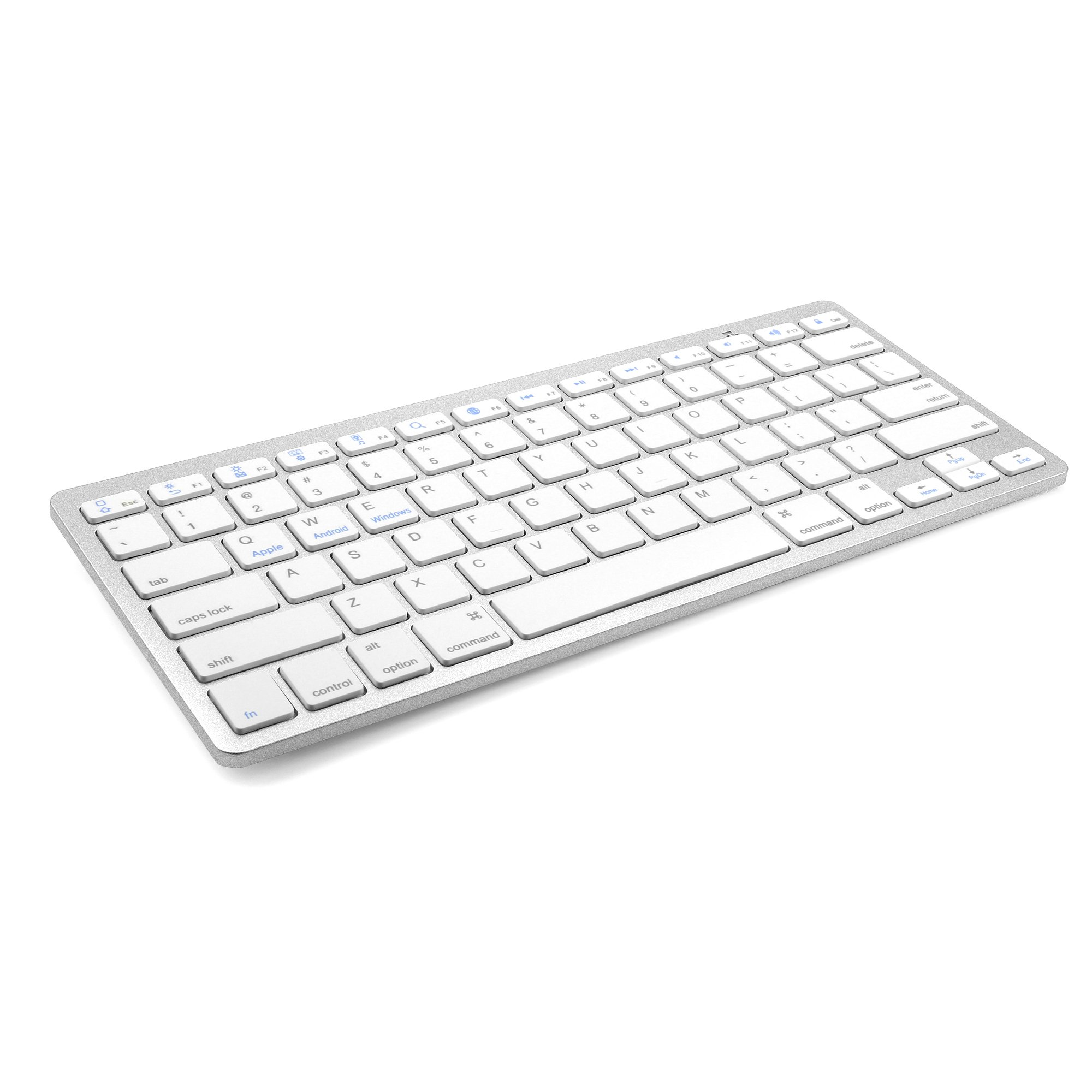 Wireless White Keyboard, JADEMALL Ultra-Slim Wireless Keyboard for Samsung Galaxy Tab Series/IOS/Windows/Android Systems and Other Bluetooth Enabled Devices, White