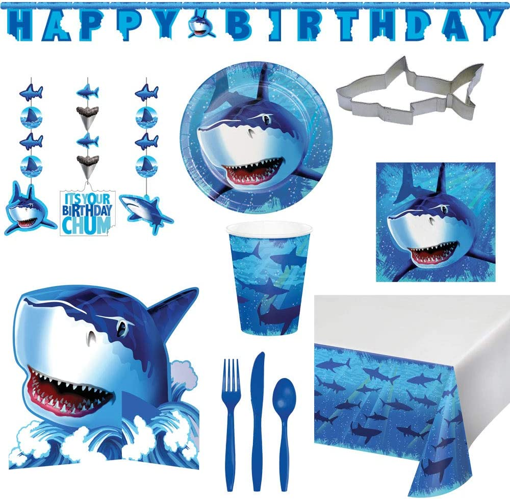 Two Trinkets Shark Splash Party Birthday Theme Disposble Deluxe Party Supply Tableware Bundle for 16 Guests