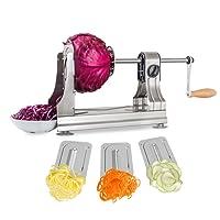 WellToBe Spiral Vegetable Slicer, Tri-Blade Stainless Steel Vegetable Spiralizer, One-hand Veggie Pasta Spaghetti Maker for Zucchini Slicer with 4 Strong Hold Suction