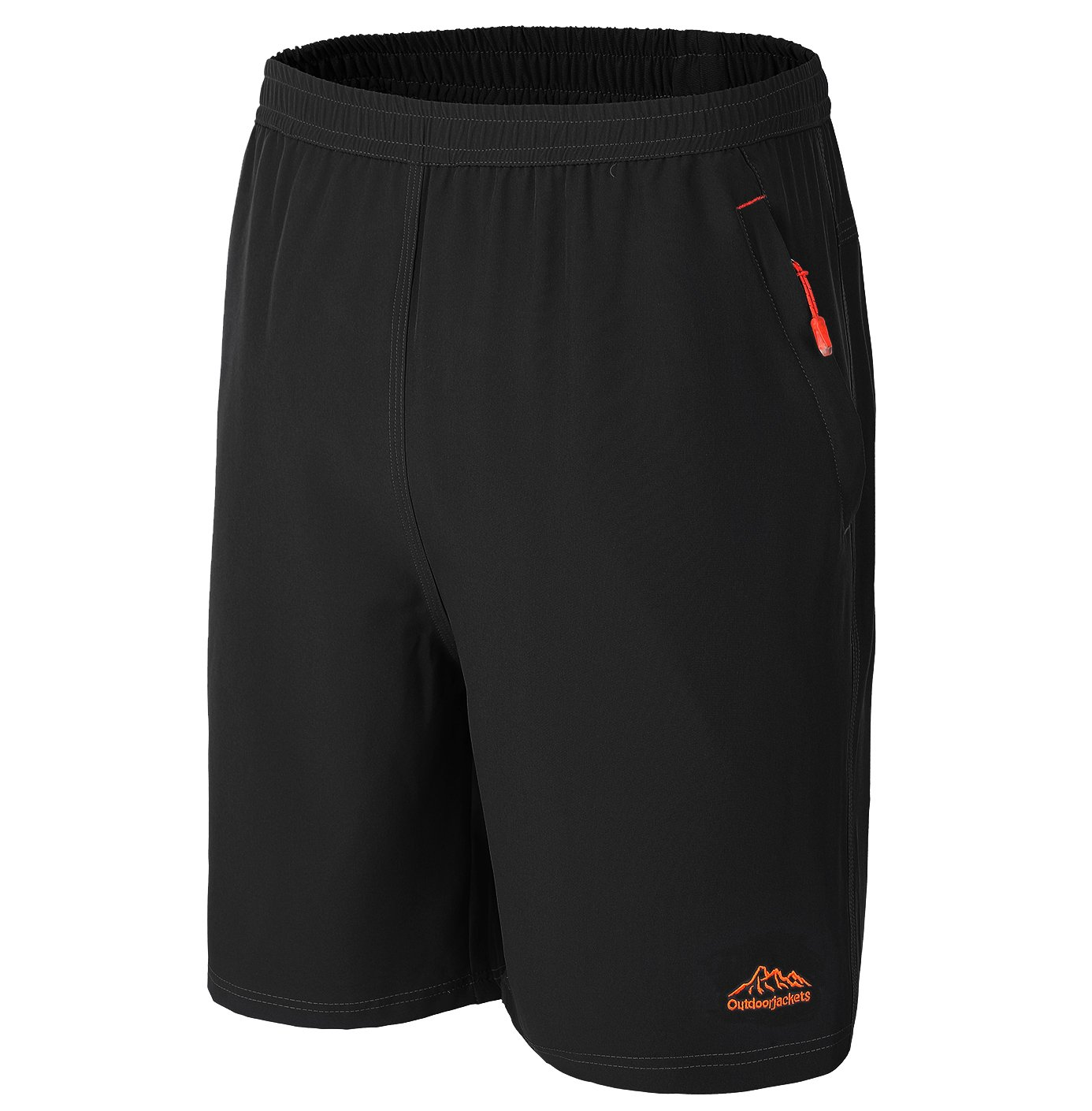 Shorts for Men Athletic with Pockets Long Sport, Black 2XL